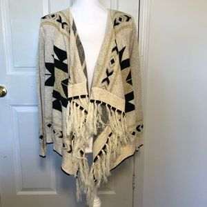 Tobi Tribal Aztec Fringe Cardigan Sweater